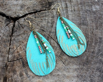 Feather Earrings - Leather Feathers - Turquoise Feathers - Teal Feathers - Beaded Dangles - Boho - Chain Dangles - Two Feathers Jewelry