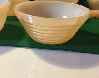 6 vintage Fire King beehive peach lustre ribbed bowls with handle