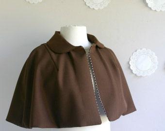 Betty women short fitted capelet short retro style cape women jacket wool cape peter pan collar polka dot