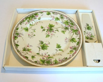 China Cake Plate with Matching Server, Andrea by Sadek, Original Box