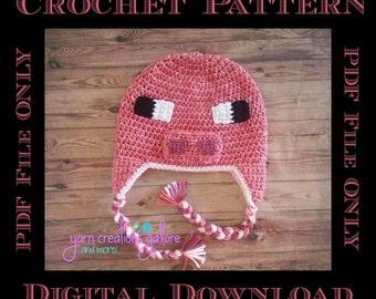 Pixel Pig Hat Crochet Pattern *** PDF FILE ONLY