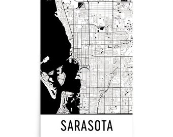 Sarasota Map, Sarasota Art, Sarasota Print, Sarasota Florida Poster, Sarasota Wall Art, Map of Sarasota, Sarasota Gift, Sarasota Decor, Map