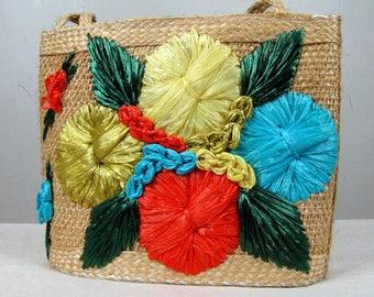 Vintage 1950s 1960s Handwoven Rattan Handbag 50s 60s Floral Raffia Bahama Embroidered Purse