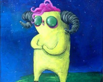 Whimsical creepy cute original acrylic painting