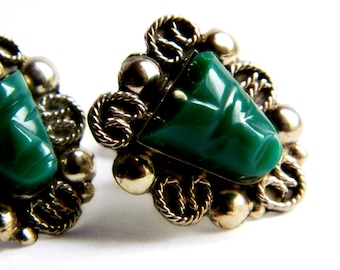 Sterling Silver Vintage Earrings - Green / Mexico