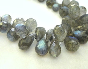 Labradorite Briolettes Faceted Teardrop Tear Drop - 5 MATCHED PAIRS, Lots of Blue Flash 9x6-10x7mm, 10 pcs