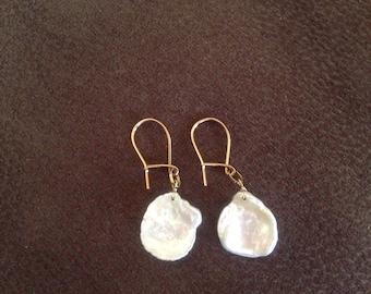 9ct Yellow Gold baroque flat pearl earrings