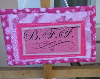 Pink Doorknob Hanging Art Quilt - BFF
