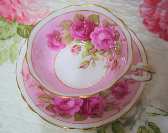 Beautiful Vintage Pink PARAGON with Pink Roses Cup & Saucer.