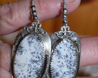 20% off SALE Sterling silver Dendrite Opal earrings, large oval cut Dendrite Opal earrings, large handmade elegant earrings, OOAK
