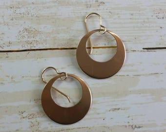 Red Copper Disk Earrings Hoop Dangle Earrings