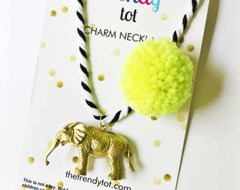Kids Jewelry. Elephant Necklace. Kids necklace. Girls Necklace. Pompom Necklace. Kids Elephant Necklace. Unique Gift Kid. Gift for Girl.