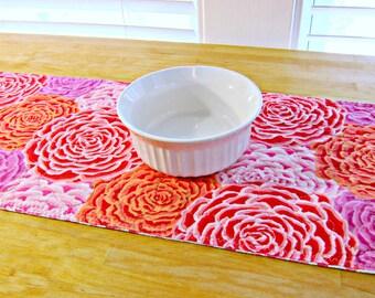 Quilted Table Runner, Modern Table Runner, Spring Table Runner, Kaffe Fassett fabric, Pink Table Runner, Easter Table Runner, Tropical decor