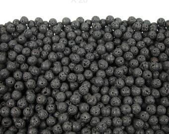 20 beads of black natural lava rock 8 mm in diameter