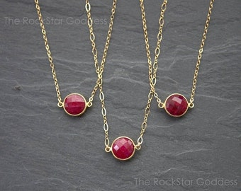 SALE / Ruby Necklace / Gold Ruby Necklace / Gold Ruby Pendant / Ruby Jewelry / Ruby Jewelry