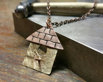 Bird Jewelry, Birdhouse Pendant, Copper & Brass, Metalwork Jewelry