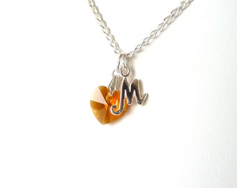 November Birthstone Necklace, Personalized Kids Necklace, Teen Jewelry Necklace, Topaz Birthstone, Gift for Teenage Girl, Girl Jewelry