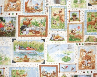 Camping Fabric Suzzy's Zoo Cotton Fabric Novelty Fabric Sewing Fabric Quilting Fabric  Animal Fabric Hoffman Fabric By the Yard