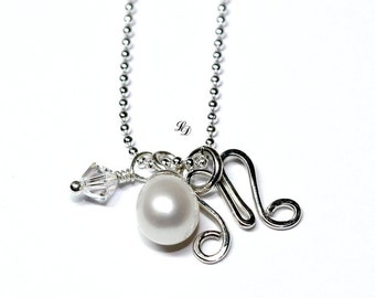 Monogram necklace, Sterling silver, with freshwater pearl, swarovski, personalized, Sterling silver, womans, initial  - Free shipping!