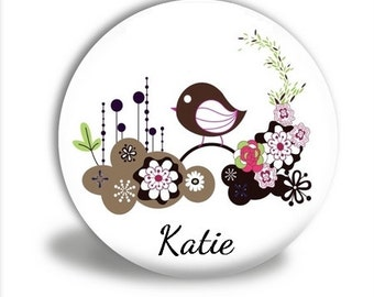 Personalized Bird Pocket Mirror, Bird Garden Pocket Mirror