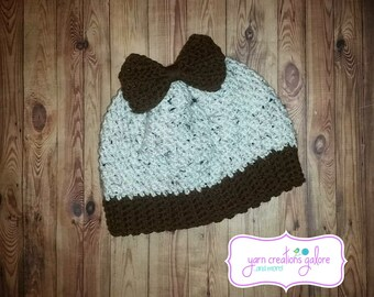 Crochet Messy Bun Hat with Bow #1
