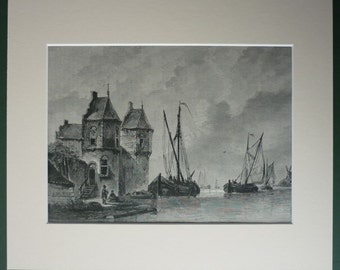 Antique Victorian Nautical Print of Boats on the Meuse, Antonie Waldorp 19th century Dutch painting, Meuse river, sailing boats in Holland