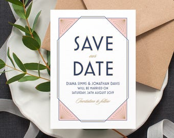 Art Deco 'Save the Date' / 'Gatsby' 1920s Wedding Card / Engagement Announcement / Blush Rose Navy / Custom Colours Available / ONE SAMPLE