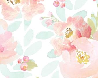 Girls Crib Bedding Blush Mint Boho Changing Pad Covers / Bohemian Floral Nursery Baby Bedding /Mini Crib Sheets Pink / Girls Cot Sheets