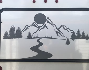 Mountain, river, tree decal
