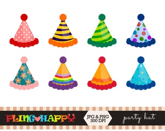70% OFF Party Hat Clipart, Party Hat Clipart Graphics, Personal & Small Commercial Use, Instant Download