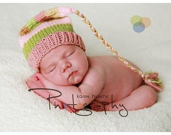 Baby Girl Knit Hat NeWBoRN BaBY PHoTO PRoP Stocking Cap LoNG TAiL Tassel FCN BeANiE Pink Tan Green Stripe PiCK CoLOR Coming Home SHoWeR GiFT
