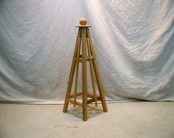 "4' Cedar Obelisk, 16"" Base , Solid Wood Architectural Obelisk with Sphere Ball Top, Flat Pack Shipping Easy Assembly, 46"" Tall"