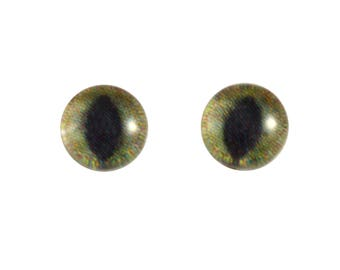 6mm Green and Brown Cat Glass Eyes - Round Animal Eyes - Pair of Glass Eyes for Doll, Sculpture, Taxidermy or Jewelry Making - Set of 2