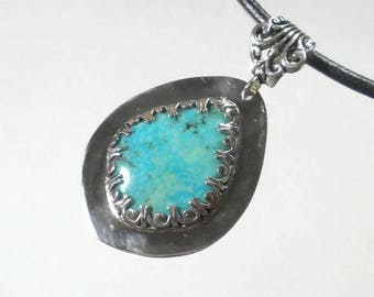 Sterling Silver Turquoise Pendant Necklace Artisan Turquoise Necklace Sterling Silver Designer Turquoise Necklace
