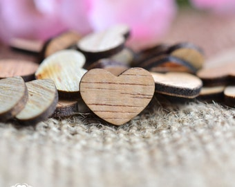 "100 Wooden Hearts 1/2"" - Rustic Wedding Table Confetti - Wooden Hearts - Wedding Invitations"