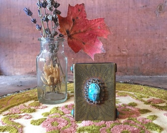vintage match box cover / metal match box cover / turquoise scarab beetle / match box holder