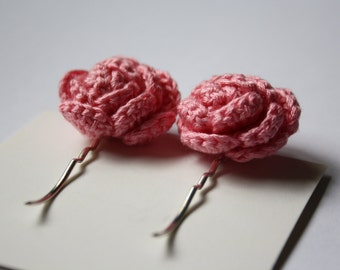 SALE Crochet Rose Hair Bobby Pins
