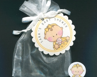 Personalized Baby Girl Baby Shower Favor Candy Bags Baby Girl In Yellow Outfit Includes Tags, Candy Stickers, White Organza Bags