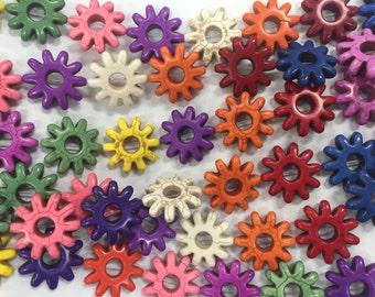30mm howlite sun beads, 14beads, multi color