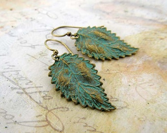 Leaf earrings patina jewelry gift for her small rustic earrings Boho jewelry