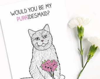 Funny Bridesmaid Card | Bride Gift | Maid of Honor | Best Friends | Be my bridesmaid