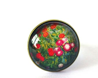 Ring cabochon 20 mm - Monet - Giverny flowers