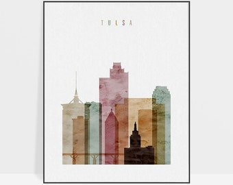 Tulsa skyline art print, watercolour Poster, Travel decor, Wall art, Oklahoma art, City poster, Wall Decor, Gift, Home Decor, ArtPrintsVicky
