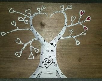 Heart Shaped Birch Tree on Barnwood