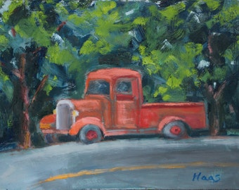 California Plein Air Landscape Oil Painting Original Art San Francisco Bay Area Orange Truck Crockett CA Northern California Artist Artwork
