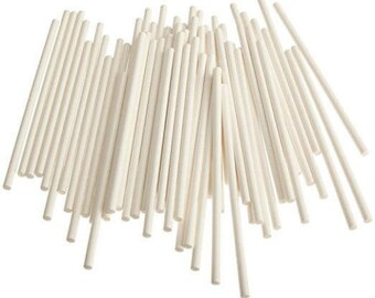 """6"""" Paper Cake Pop Stick 100 White Sticks, Great for Cakes Pops, Brownies, Cookies, Rice Krispies, etc"""
