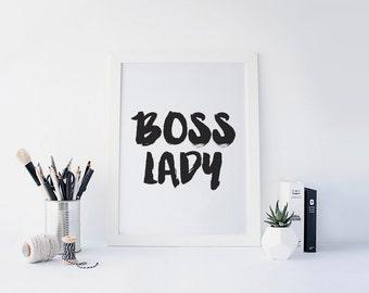 Boss Lady, Girl Boss, Girl Boss Print, #girlboss, Office Decor, Desk Accessories, Black and White art, Inspirational Quote, Printable Art