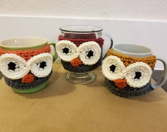 Owl Cozies for Mugs with Handles - set of 3 custom colors