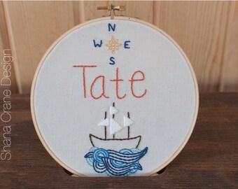 Ship on the Waves . Custom Embroidery Hoop