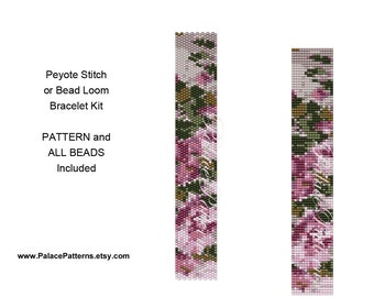 Peyote Stitch Bracelet KIT or Bead Loom Bracelet KIT - pp77 - Pattern and Delica Beads Included P23